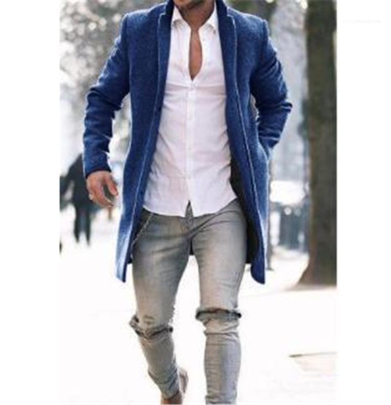 ملابس خارجية مع زر ترف رجال معاطف الشتاء أزياء طية صدر السترة عنق طويل كم رجل الأخلاط مصمم عارضة
