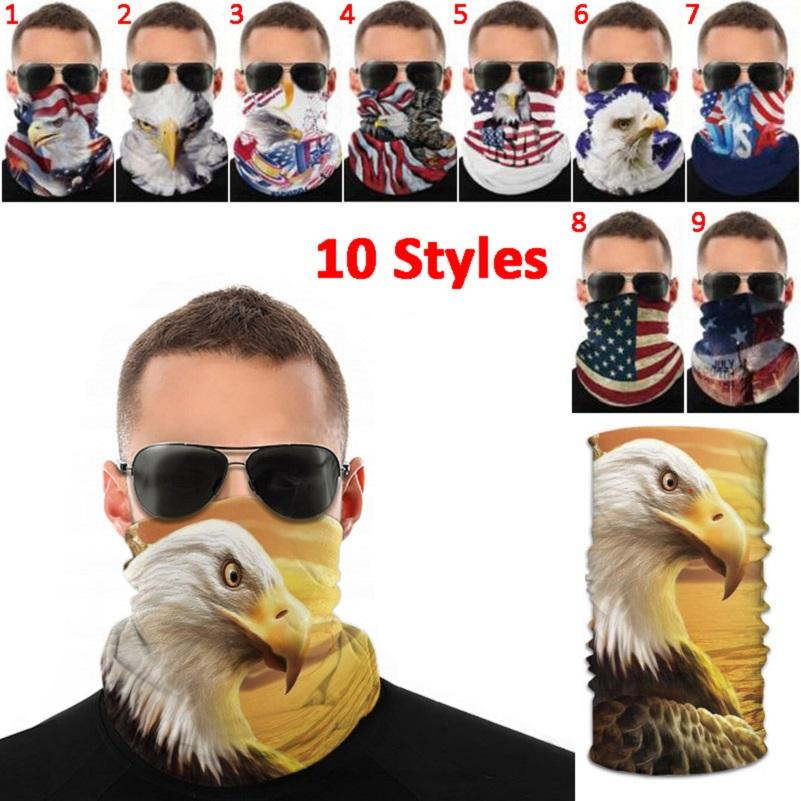 ABD Amerikan Bayrağı Ulusal Kuş Baskı Sihirli Eşarp Fonksiyonlu Yüz Doğa Sporları Kayışı Anti-sivrisinek toz geçirmez Cap Maske
