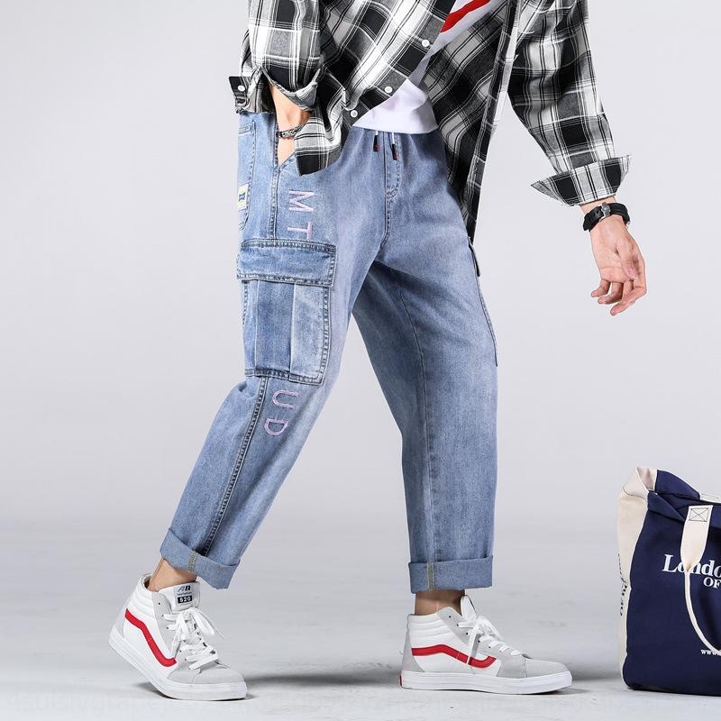 Stylish degli uomini dei jeans xdF2u CKuUT carico autunno fasci piedi fino alle caviglie 9 Jeans acquariofili XL sudore pa giovani e pantaloni sportivi dei pantaloni
