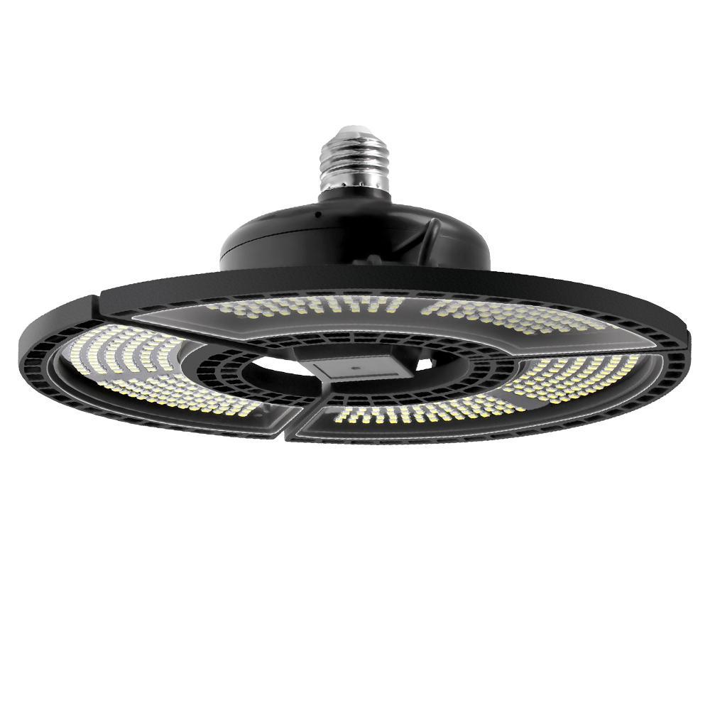 E27 Светодиодная деформируемая складная гаражная лампа Супер яркое промышленное освещение 60 Вт 80 Вт 100 Вт UFO High Bay промышленная лампа для склада