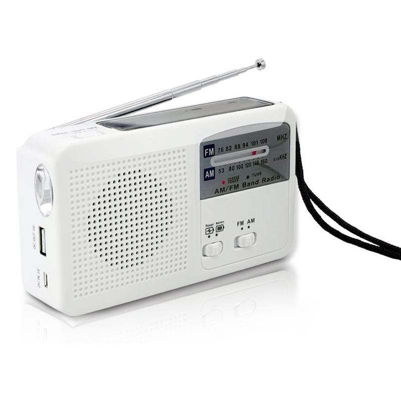 Radio di emergenza con solare e manovella autoalimentato, USB ricarica della batteria radio FM / AM LED caricatore del telefono