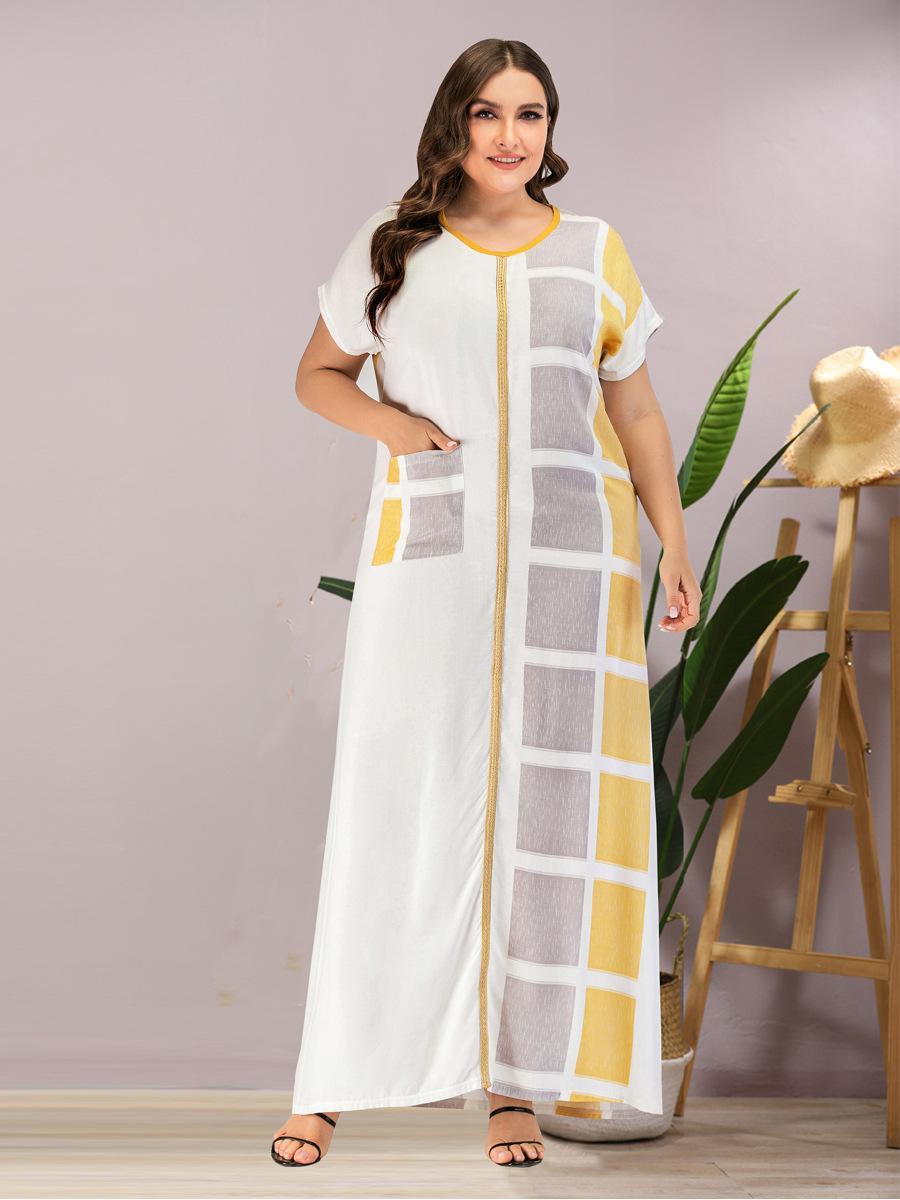 Manica corta estate collo delle donne V vestito casuale Plus Size Plaid Stampa Bianco musulmane vestito largo maxi vestiti lunghi