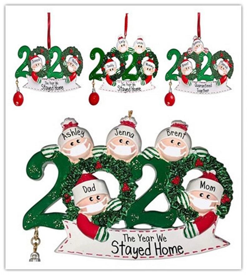 DIY زخرفة عيد الميلاد زينة عيد الميلاد 2020 الحجر شخصية نجا عائلة من 5 حلية مع أقنعة الوجه الراتنج