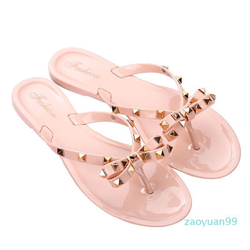 Sıcak Satış-Tasarımcı Yaz Terlik Modası ilmek Pearl Flip Kadınlar Flats Açık Toe Terlik Moda Flip-Flop Plaj Ayakkabı kız Flops