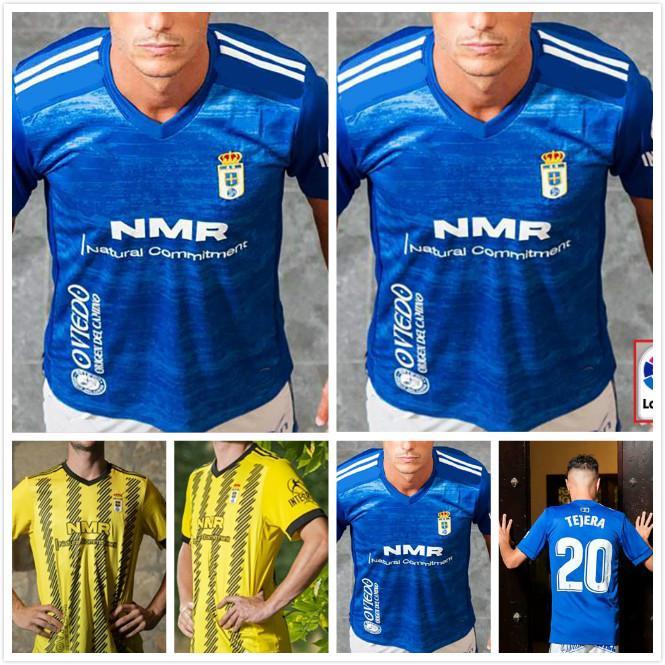 Реал Овьедо футбол Джерси 20 21 Овьедо Главная синий футбол рубашка 2020 2021 # 2 Йоуханнессон # 10 SAUL # 7 RAMOS Футбол Униформа продаж