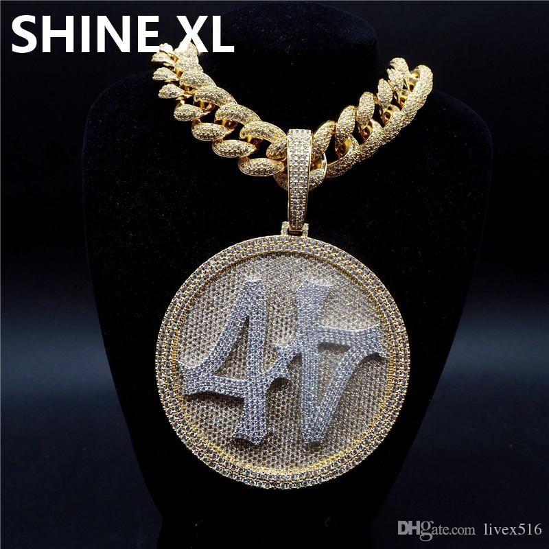 Iced Out Big rotonda Spinner Numero 44 oro Collana placcato Mens monili di Hip Hop Bling regalo
