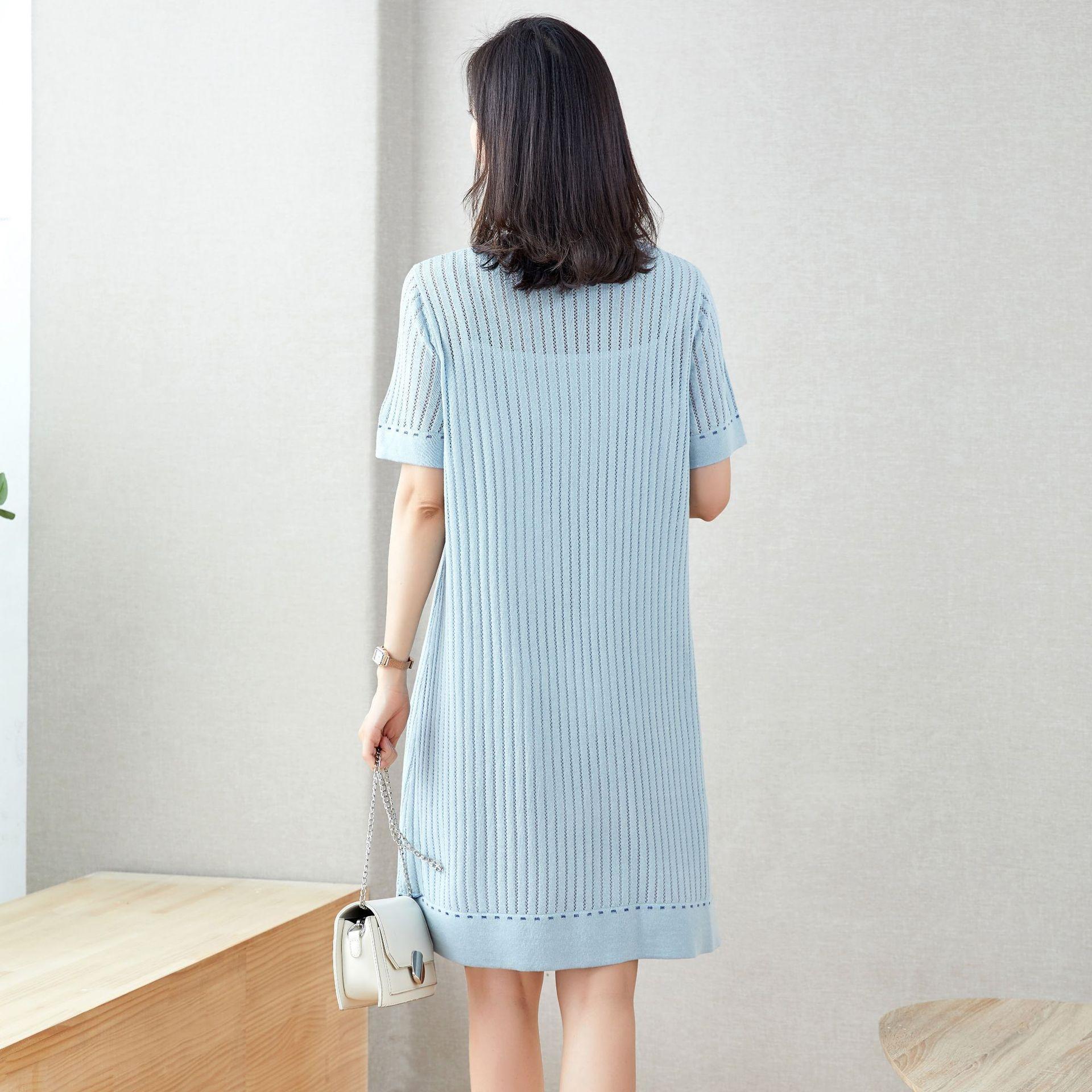 ZERZy guSec Hülse Silk lose große gestrickte Sommer neue koreanische Ice Art und Weise beiläufiges Kleid kleiden dünne Perspektive kurzen Artfrauen clothi