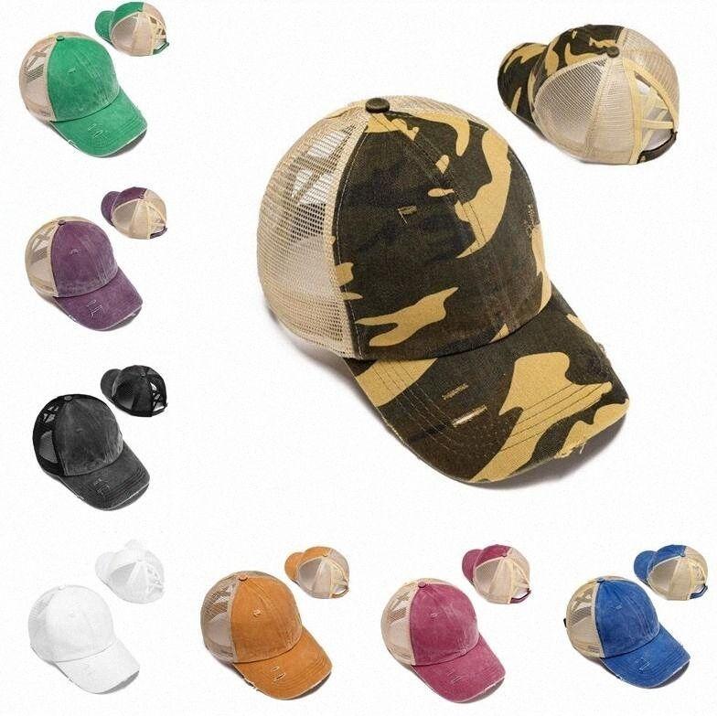 Coda di cavallo Baseball Caps estive sudici panini Cappelli ragazze Lavato Berretti Cotone Cappello unisex parasole del cappello della protezione esterna Snapbacks con Label ZB755 kZPu #