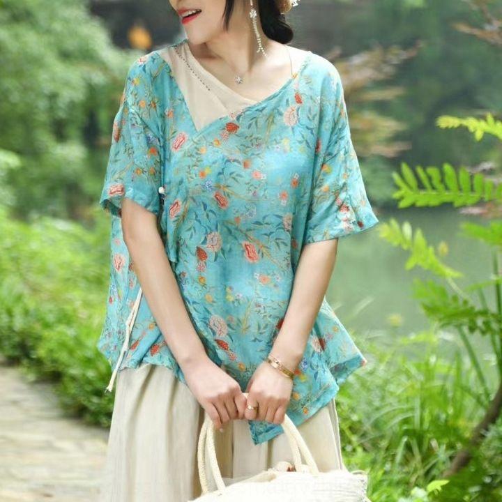 YQShg a8bQS femmes crossbody Shirt imprimé ramie manches courtes mince lin été perméable à l'air ramie 2020 femmes crossbody numérique T-shirt haut de d