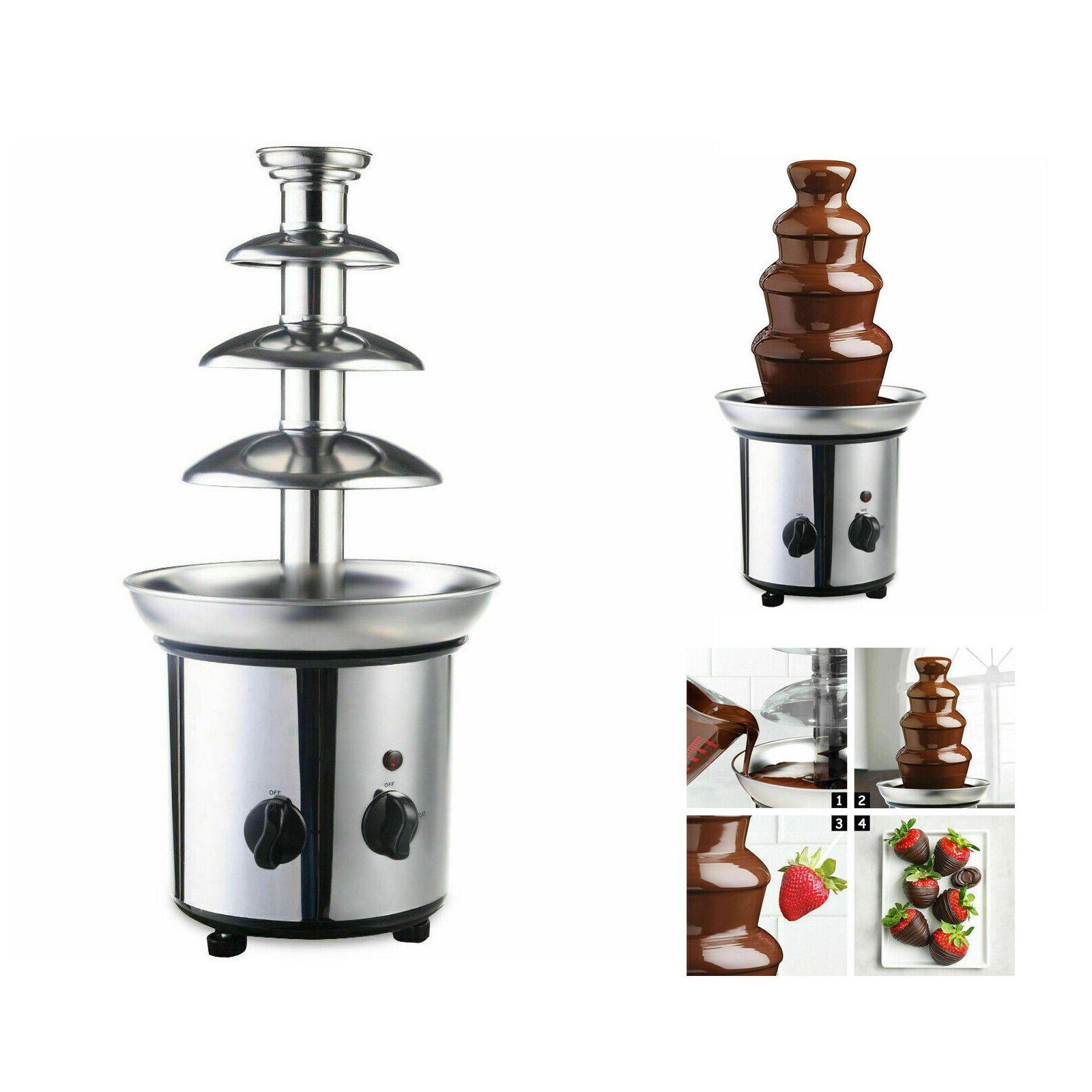 Commerciale Acciaio inox lusso partito Hot Chocolate Fondue Fontana 4 Tier US