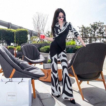 Spring 2020 fashion black and white print zebra pattern long sleeve slim onesie tLbs#