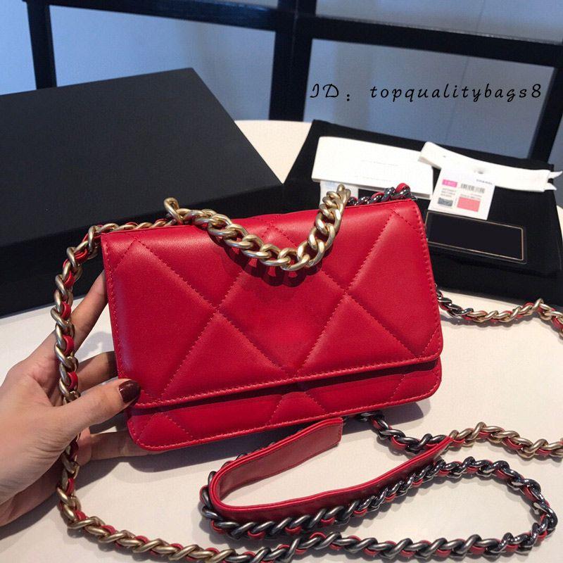 Lattice Genuine Woc Crossbody Bolsa Black 19 Diseñadores Mujer Purso Moda Moda Messenger Bag Lujos S WQXON