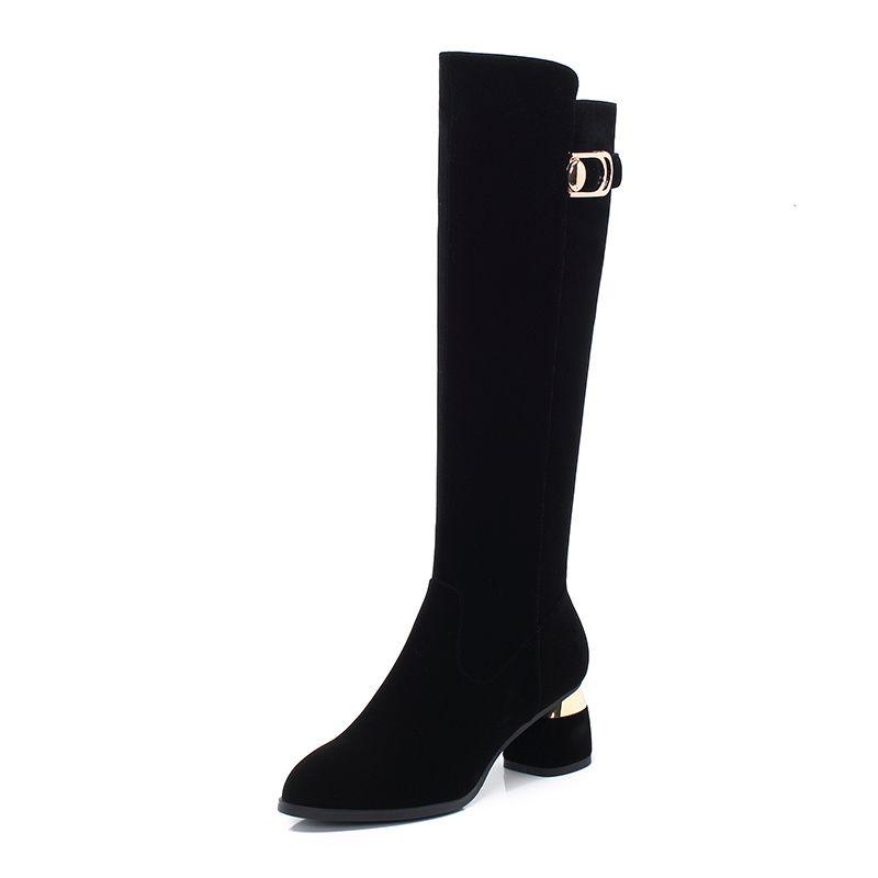 Ocidental Botas Mulheres alta joelho botas de vaqueiro moda costura sapatos bicudos Feminino altos saltos grossos Sapatos Ladies Autumn tamanho 34-43
