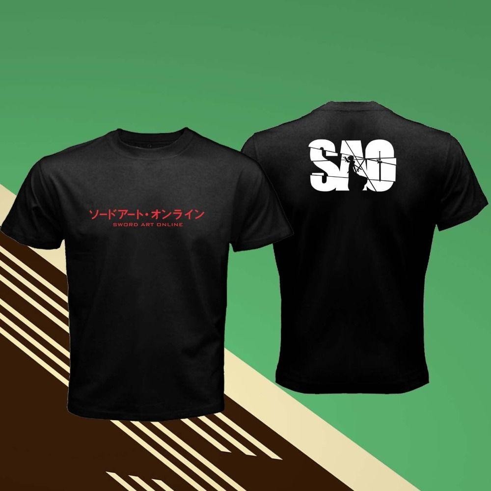 Sword Art Online SAO Schatten Kirito Kirigaya Typografie Retro schwarze Männer-T-Shirt 2020 heiße Verkaufs-Sommer-Stück-T-Shirt