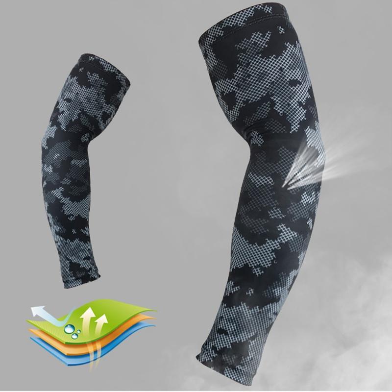 1 Pieza camuflaje Negro brazalete deportivo transpirable Protector solar Manguito Sólo sudor individual aptitud del protector absorbente de secado rápido