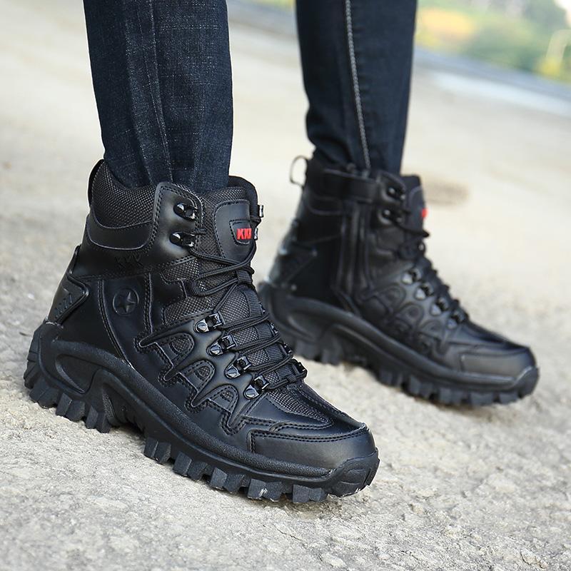 Desert Tactical Homens botas impermeáveis Exército Botas Homens Caminhadas Combate tornozelo Big Size resistentes ao desgaste HX-079