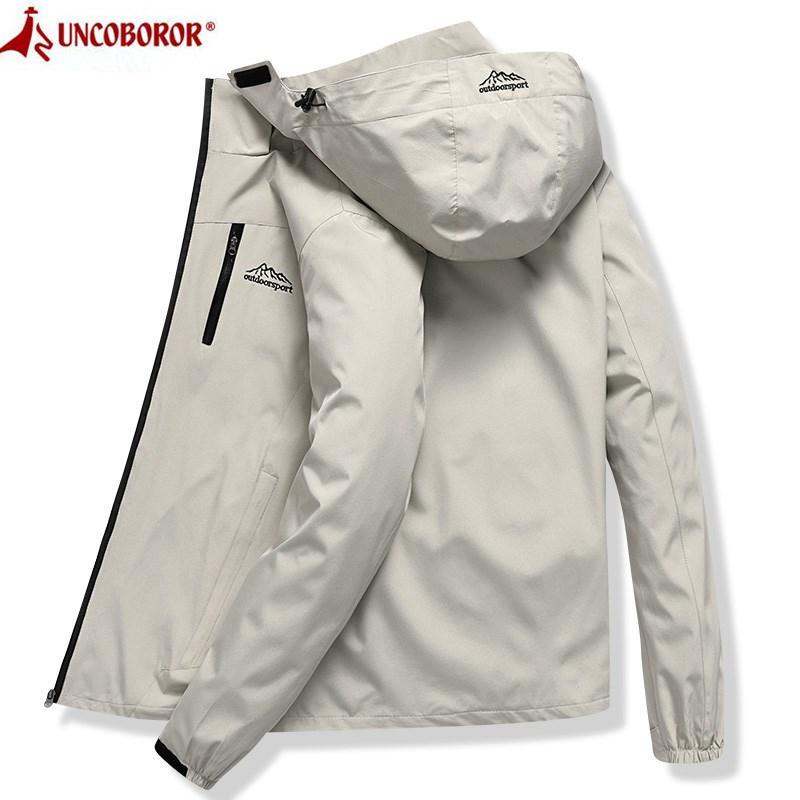 Куртка с капюшоном Мужчины водонепроницаемый дышащий вскользь куртка весна осень Outwear Ветровка Горный туризм Дождевик Мужской одежды