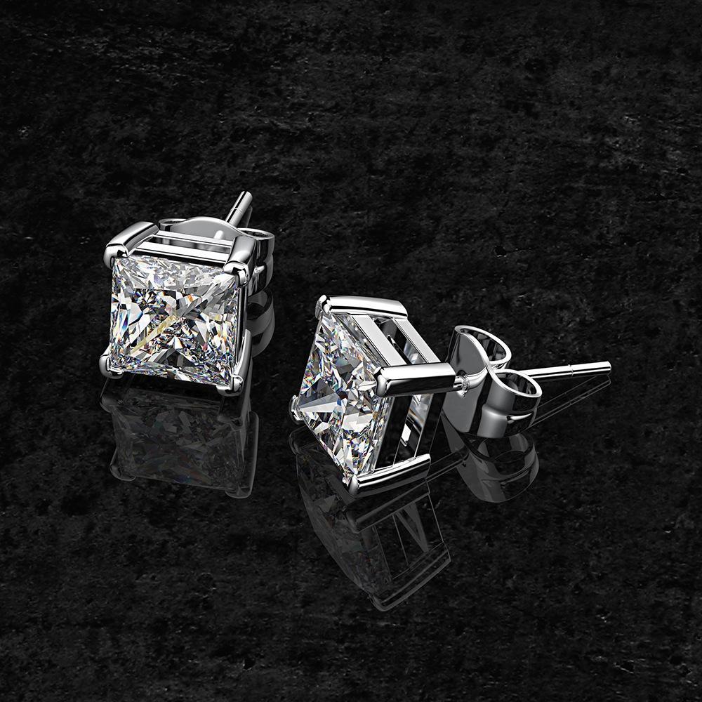 SUdgq Shipei argent sterling bijoux carrés boucles d'oreilles en diamant de diamants de haute et de carbone femme INS Princess carré 6 * 6mm boucles d'oreilles vente chaude Jewe