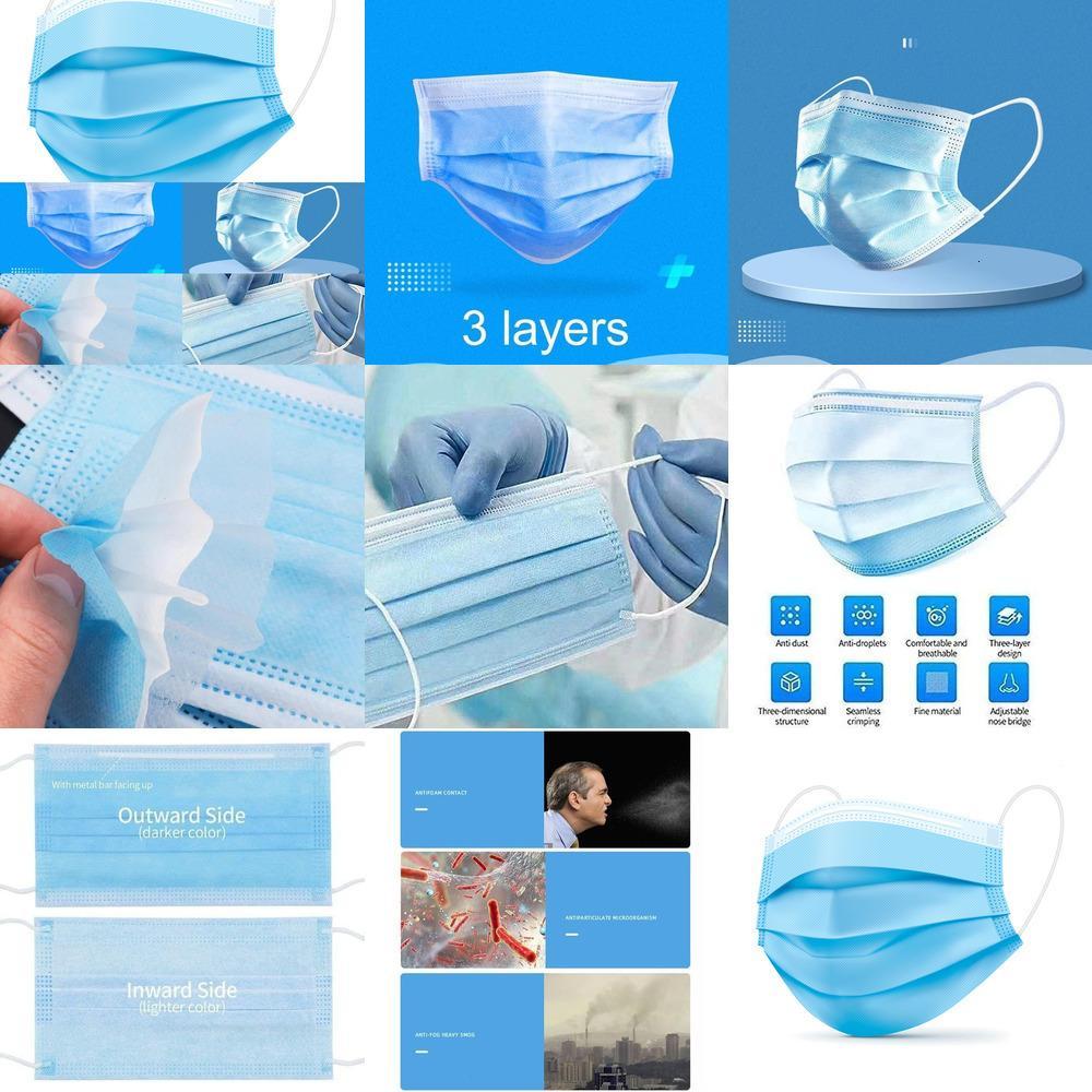 Máscara 200 Pcs descartáveis rosto com máscaras Earloops 3 Ply Protective azul descartáveis, proteção à prova de poeira pessoal Anti Spittle Eye M1XPF