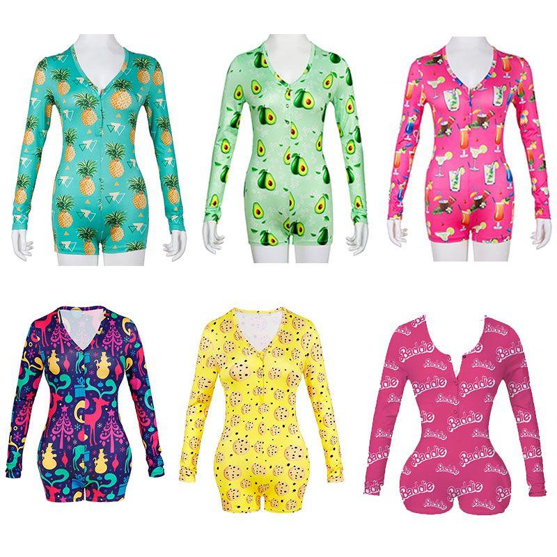 Women Jumpsuits Sexy Long Sleeve Rompers Ladies V Neck Playsuits Print Skinny Jumpsuit Pajama Nightwear Onesies Shorts 27 Colors 050821