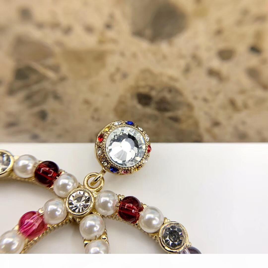 grandi dimensioni orecchino spilla 2020 di alta qualità per le donne di nozze regalo gioielli con perle e diamanti colorati PS4255 trasporto libero