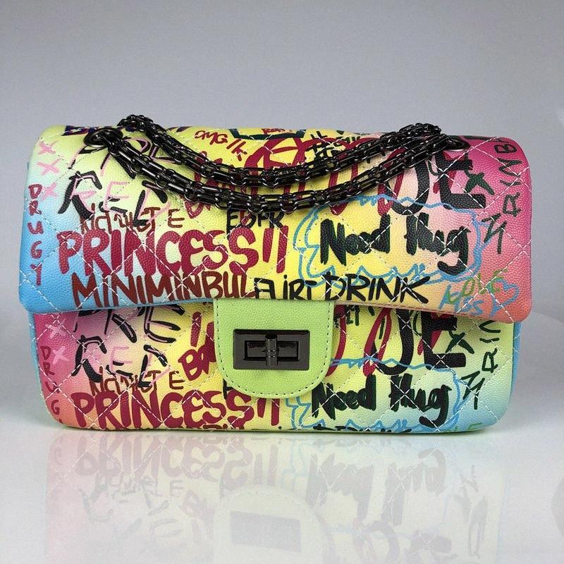 Femmes Sac à bandoulière haut de gamme Designer Marque Sacs à main Graffiti Lien mode de verrouillage PU Turn Messenger Bag Sacs à main grande capacité brahmane 44bR #