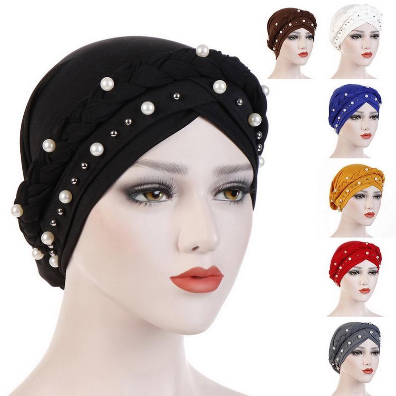 Mulheres Qualidade Headwrap cor sólida muçulmana Chunky étnico Loss Turban Hat gracioso cabelo Chemo Cap Headwrap 2020