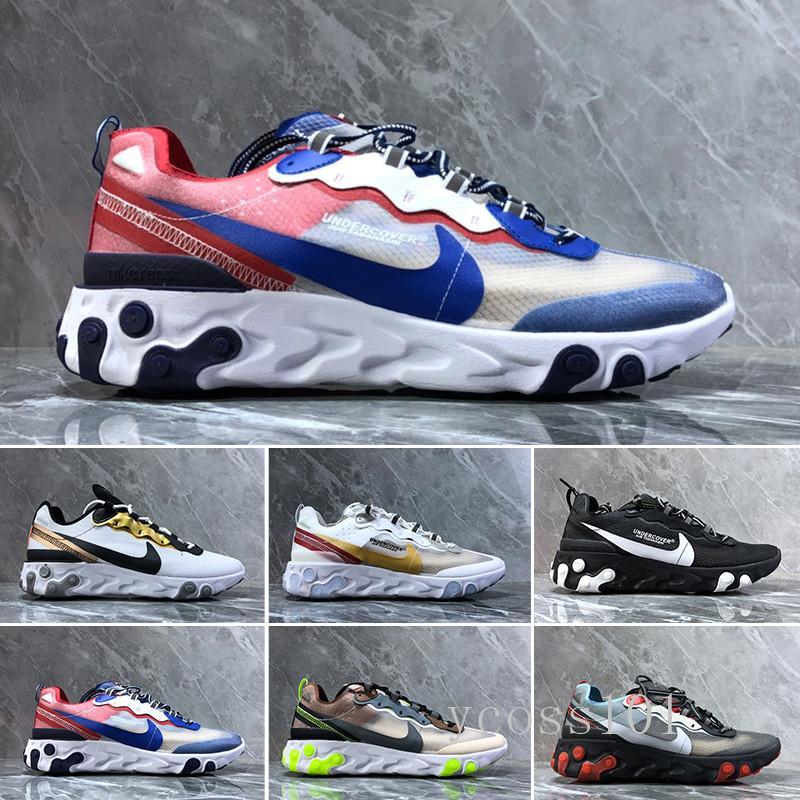 nike Air max Epic React Element 87 Venta caliente 2018 Piet Parra x 1 de los zapatos corrientes de los hombres de las mujeres Parra 87 blanco de múltiples colores Wotherspoon nu
