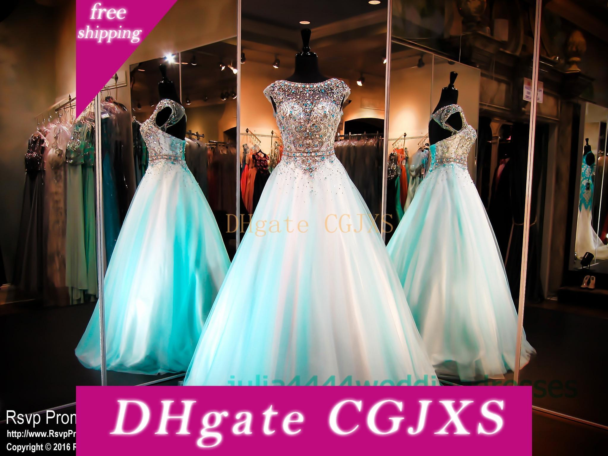 2019 Cap Neck Sheer Quinceanera Dresses Prom Party vestido Pageant completa Beads Top Mint Ulle Com Cap Sleeve Soop luva do doce 16 Longo