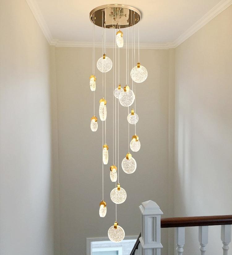 Treppe lang führte Kronleuchter aus Kristall Luxus-Loft Duplex Pendelleuchten Villa Hotel moderne Deckenleuchten Treppe runden LED dekorative Lampe