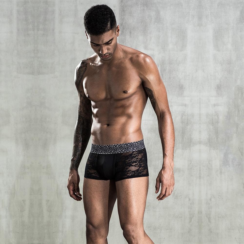 A5GNz Dantel satış seksi iç çamaşırı siyah erkek perspektif boksörler sıcak seksi boksör pantolon iç çamaşırı boxer pantolon 7263