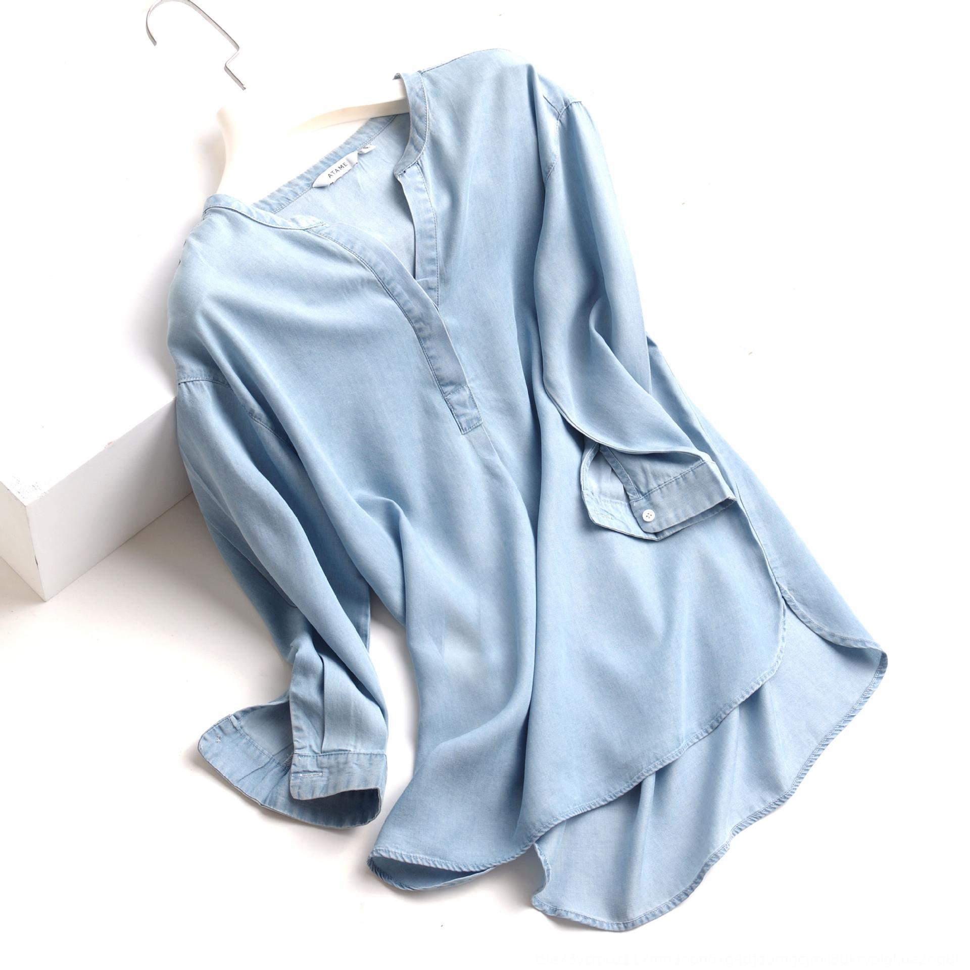 estate nuovo stile coreano delle donne all-parte superiore di corrispondenza camicia dimagrante anti-rughe con scollo a V della camicia denim sottile Tencel