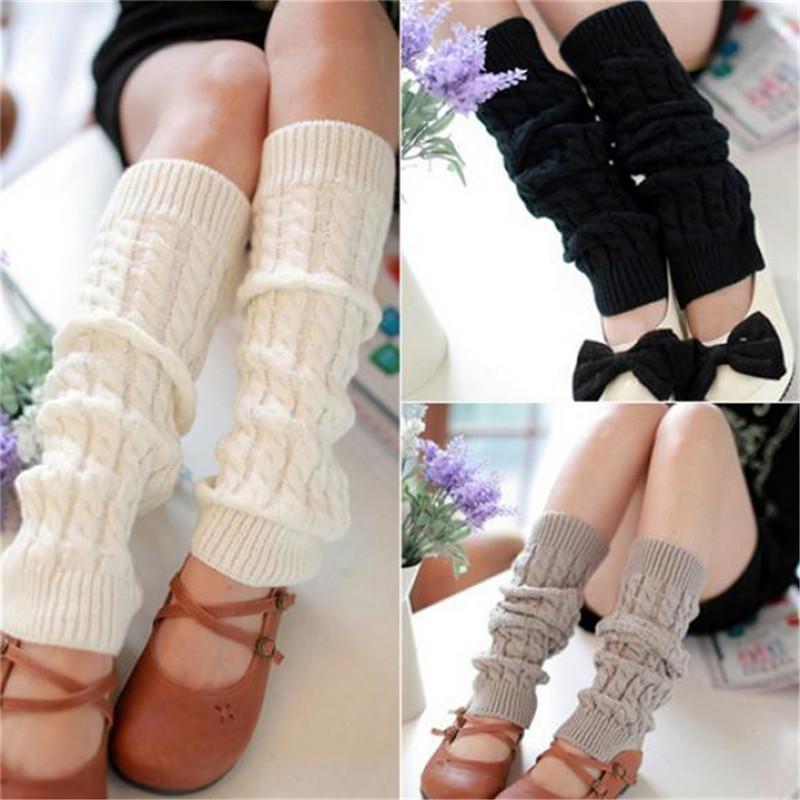 Fashion Women Warm Knee High Winter Knit Solid Crochet Leg Warmer Socks Warm Boot Cuffs Beenwarmers Long Socks Hot