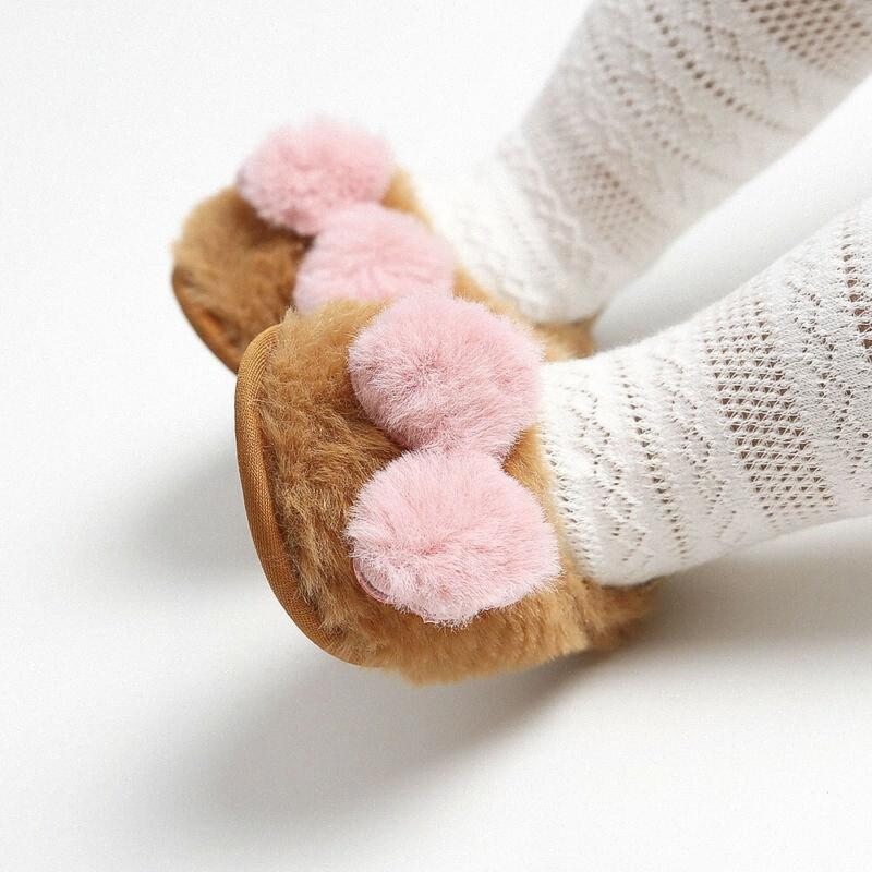 Bebé recién nacido Niños Linda niña pequeña calientes zapatos del falso lazo suave de la cuna sandalias zuecos iAUH #