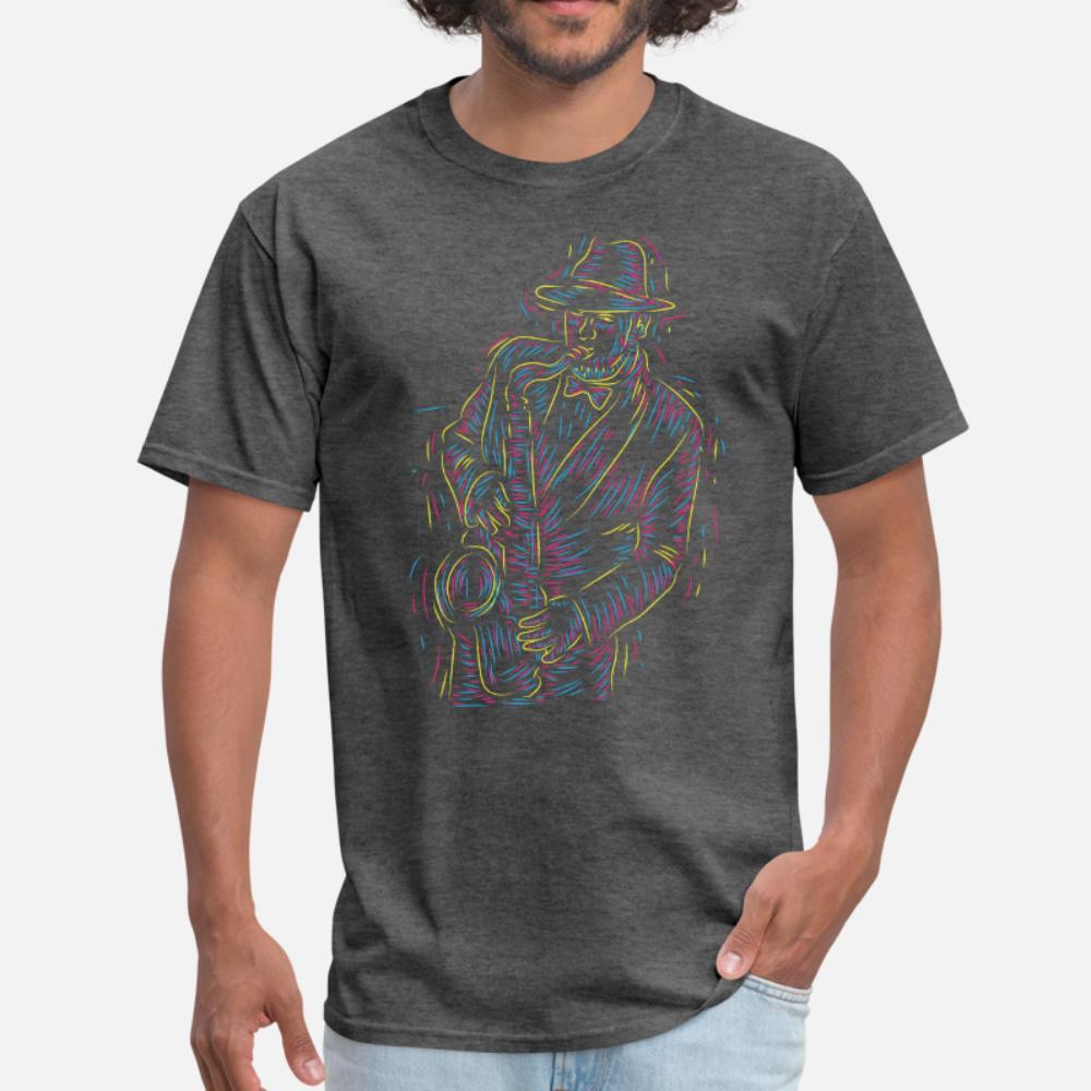 Поверхностный цвет играть на саксофон тенниска мужчина Индивидуальных маек O-Neck Фотографии Подарок Повседневной Весна Урожай рубашка