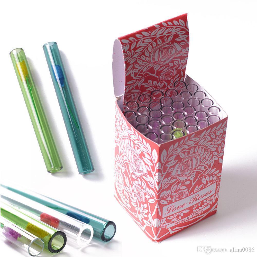 Neues gerade Rohrglas Ölbrennerrohr mit Box 4-Zoll-Liebe Rose Handrohr Glaspfeifen Dab Rig Kostenloser Versand