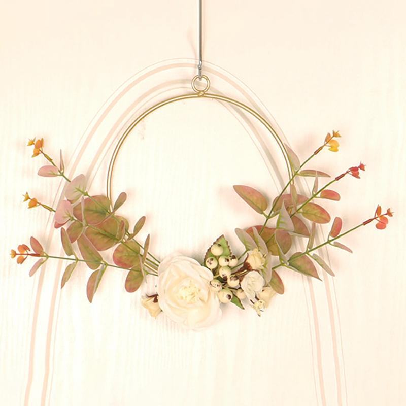 اكليل الزهور الزخرفية زهرة المنزل جولة جولة الحديد المطاوع الأوكالبتوس الجدار شنقا اكليلا زخرفة محاكاة