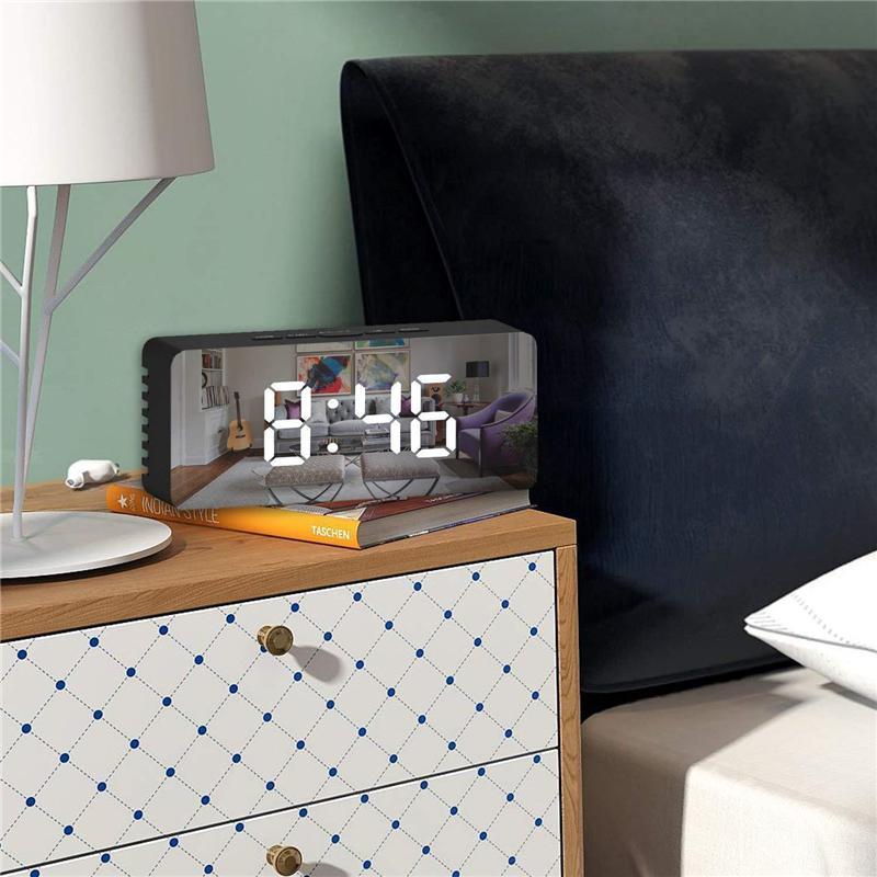 الصمام مرآة المنبه الرقمية قيلولة بعد الظهر الجدول ساعة استيقاظ ضوء الإلكترونية وقت كبير عرض درجة الحرارة المنزل الديكور