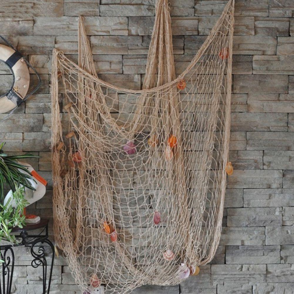 장식 낚시 그물 벽 해변 파티 바다 쉘 벽 천장 바 홈 장식 낚시 그물