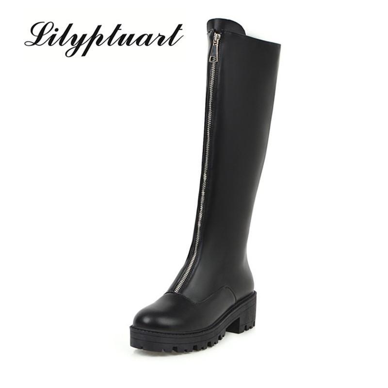 Zíper frontal botas de tubo com uma cabeça redonda botas de moda cavaleiro outono e inverno novo europeus e americanos único