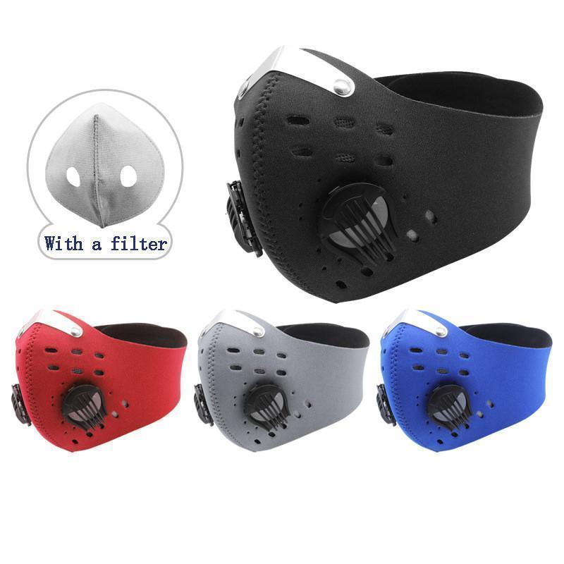 Carbon Велоспорт Face Пылезащитно Дыхательный ветрозащитный Anti-туман Активированного клапан Маска многоразовой езда маска с фильтрами