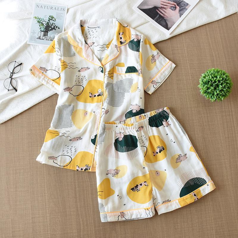 Frauen Pyjama Set Karikatur druckte Pijamas Umlegekragen Short Sleeve + Shorts Nachtwäsche 2ST Homewear 2020