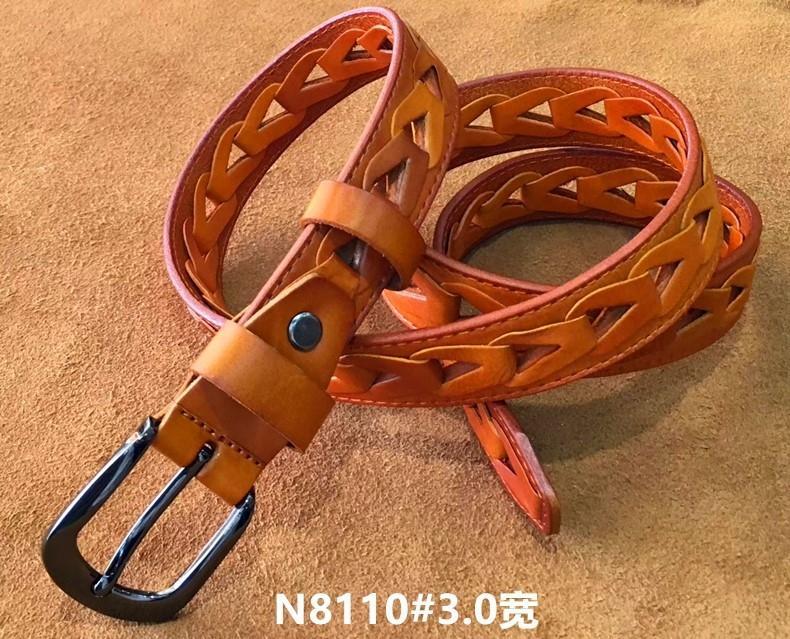Tout d'abord la peau de vache tressée N8110 # 3.0 large ceinture de couche Une des femmes légumes cuir tanné première couche ceinture de peau de vache JH0mr femmes