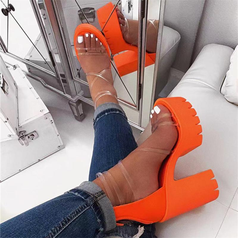2020 Nouveau femmes Plate-forme Sandales d'été Boucle femme bonbons Couleurs épais talons hauts dames boucle cheville Chaussures Femme Sandalias Y200620