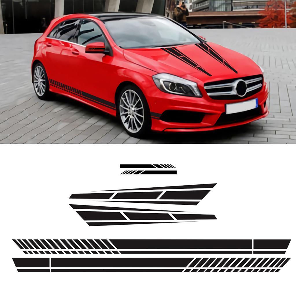 6PCS larga franja de gráficos de carreras de coches secundarios cuerpo de la campana Adhesivos Espejo