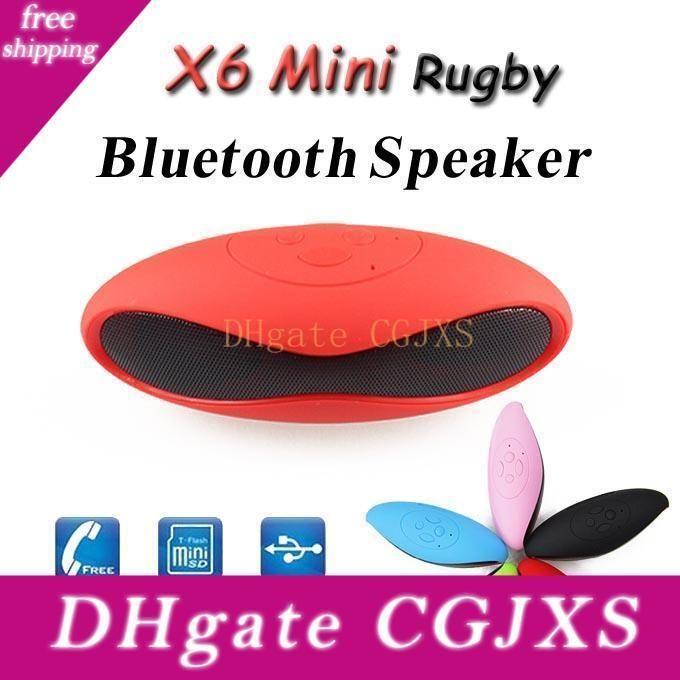 Estéreo libre de DHL mini portátil Bluetooth Wireless Mini -X6u X6 Rugby Fútbol altavoz X6u manos libres para automóvil con el Mic Tf / Aux / USB / FM MP3 de la tarjeta Pl