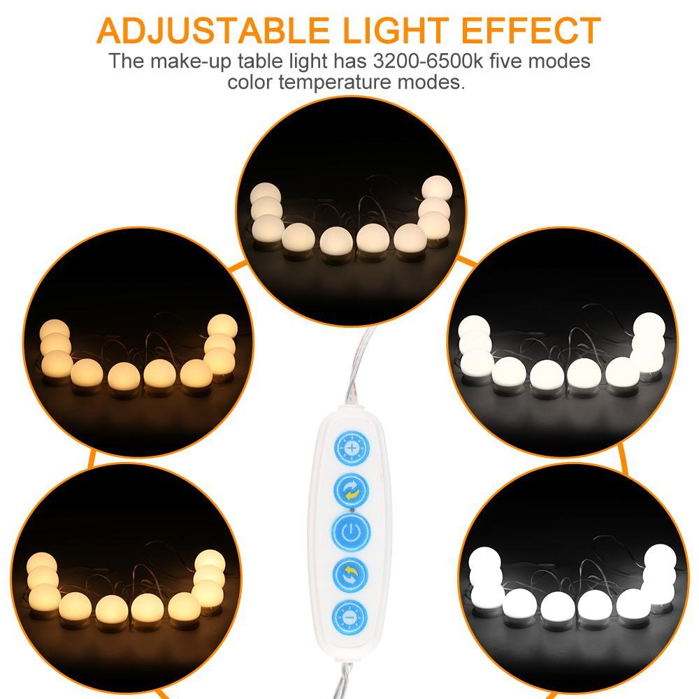 Maquiagem Espelho LED Touch Control LED Hollywood Luz 5V Regulável DIY Iluminação para vestir Espelho Mesa Lâmpada de parede