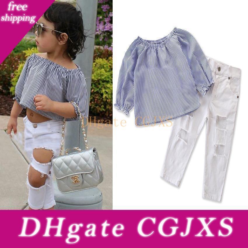 Kız Mavi Yaz Kıyafet Çocuk Çizgili 1 -6t için Beyaz Pantolon ile Delik Seti Butik Giyim Tops
