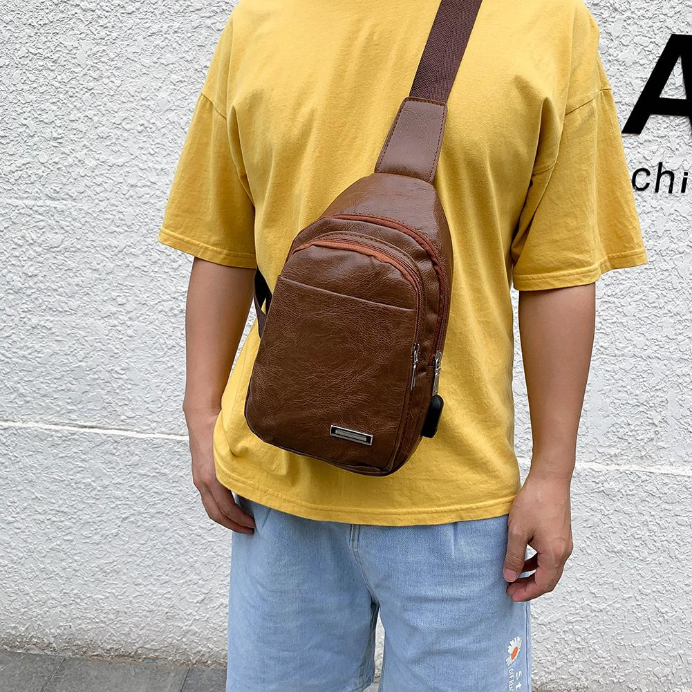 Vintage Crossbody Bags for Men Birthday Gifts Fashion Solid Fanny Chest Bag Men PU Leather Streetwear Zipper Shoulder Pouch