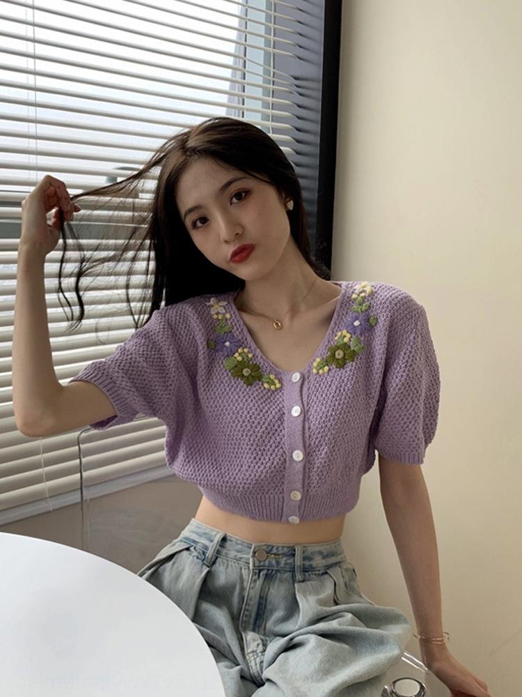 Pxv5A camisa de jacquard verano 2020 nueva camisa externa de las mujeres de la manga de punto Prendas de punto tejido de punto pequeño estilo occidental corta delgada chaqueta de punto púrpura sho